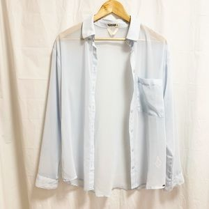 Garage Sheer Light Blue Chiffon Blouse Top